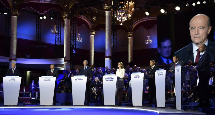 epa05616753 Candidates for the right-wing Les Republicains (LR) party primaries ahead of the 2017 presidential election, (L-R) Bordeaux's Mayor Alain Juppe, former French prime minister Francois Fillon, Former French Agriculture minister Bruno Le Maire, French lawmaker Nathalie Kosciusko-Morizet, Former French President Nicolas Sarkozy, Head of the French Christian democratic party Jean-Frederic Poisson and French lawmaker Jean-Francois Cope attend the second televised debate between the seven candidates for France's right-wing presidential nomination at at the salle Wagram venue in Paris, France, 03 November 2016.  EPA/ERIC FEFERBERG / POOL