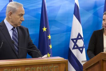 EU Foreign Affairs and Security Policy Federica Mogherini, left, speaks during a joint news conference with Israeli Prime Minister Benjamin Netanyahu, before holding a bilateral meeting in the Prime Minister's Jerusalem offices, Friday, Nov. 7, 2014. (AP Photo/Jim Hollander, Pool)